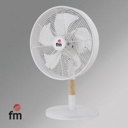 Ventilador Sobremesa FM Ns-130 3 Velocidades Oscilante Metal Y Madera