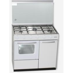 ROMMER Cocina gas 5 fuegos horno blanca CH915B PB