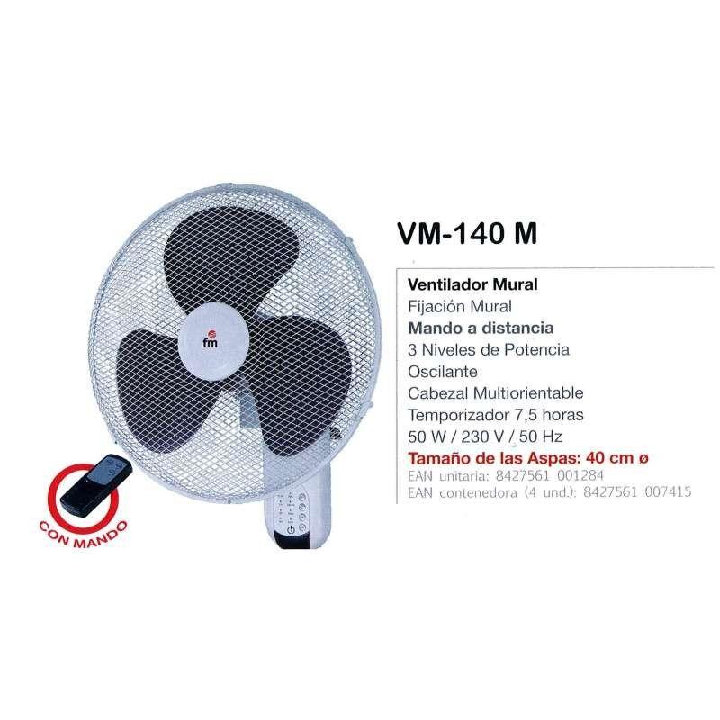 Ventilador Pared FM Vm-140m 3 Vel Oscilante Mando